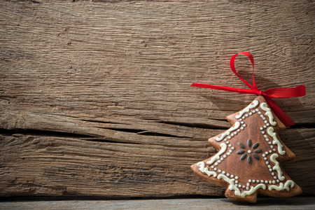 baking christmas cookies: Vintage christmas decoration over old wooden background Stock Photo