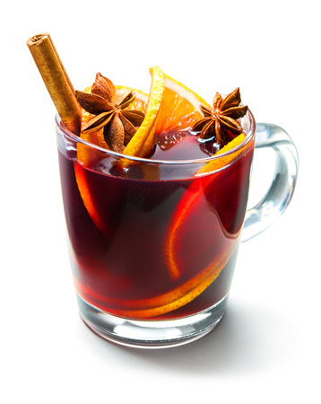Hot red mulled wine isolated on white background Stock Photo