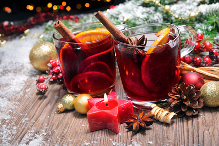 Two glasses of  mulled wine with christmas decoration