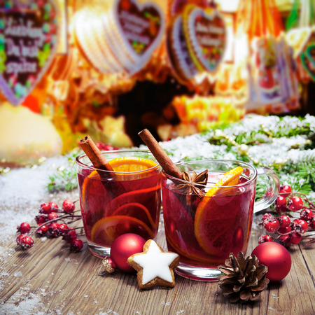 weihnachtsmarkt: Two glasses of  mulled wine on german christkindl markt Stock Photo