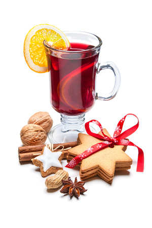 mulled: Hot red mulled wine isolated on white background Stock Photo