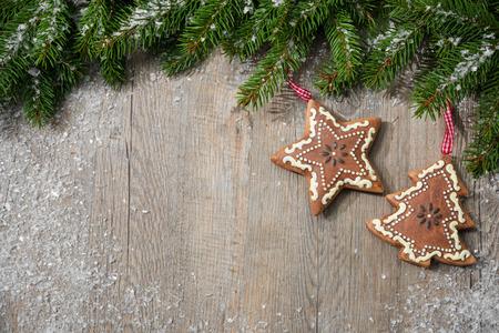 Vintage christmas decoration over old wooden background Banque d'images