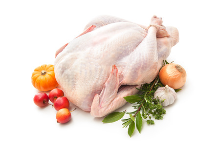Uncooked turkey with herbs isolated on white background 版權商用圖片 - 33691103