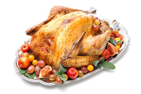 turquia: Pavo asado aderezado plato en m�s de fondo blanco Foto de archivo