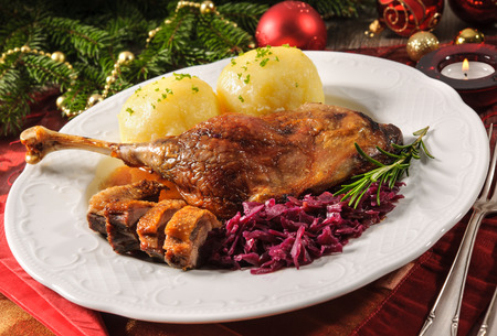 crusty: Crusty goose leg with braised red cabbage and dumplings