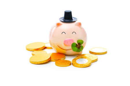 four leafed: Four-leafed clover and piggybank with money
