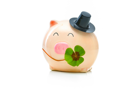 four leafed: Four-leafed clover and piggybank isolated on white