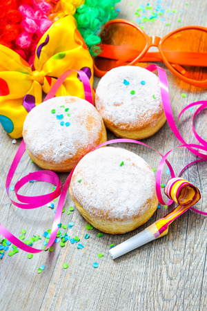 fasching: Krapfen or donuts with jam and icing sugar