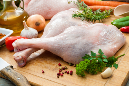 roast turkey: Preparation of goose legs at Christmas time Stock Photo