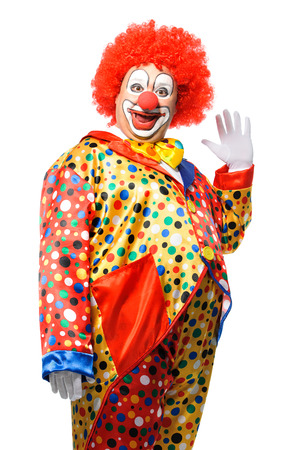Portrait of a smiling clown isolated on white Foto de archivo