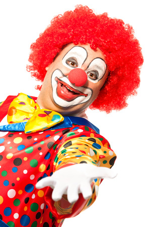 clown birthday: Portrait of a smiling clown isolated on white Stock Photo