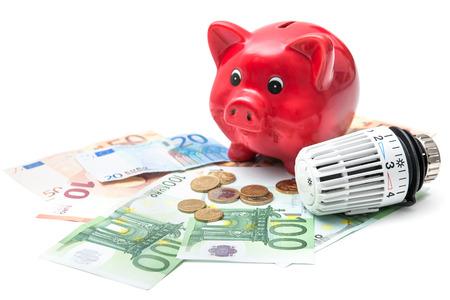 radiator: Termostato de la calefacción con la hucha y dinero, calefacción caro cuesta concepto