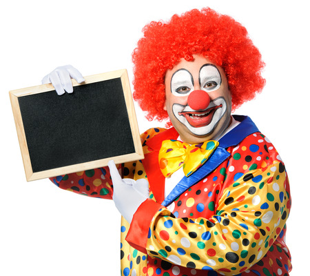 entertainers: Clown with blank board isolated on white