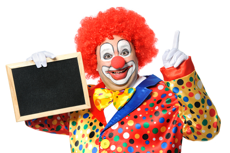 Clown with blank board isolated on white photo