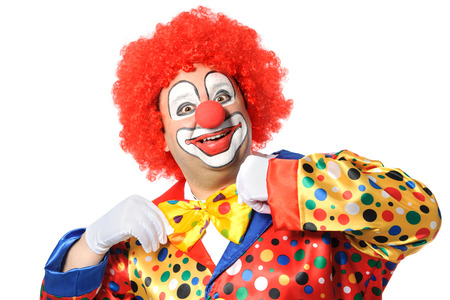 Portrait of a smiling clown isolated on white Standard-Bild
