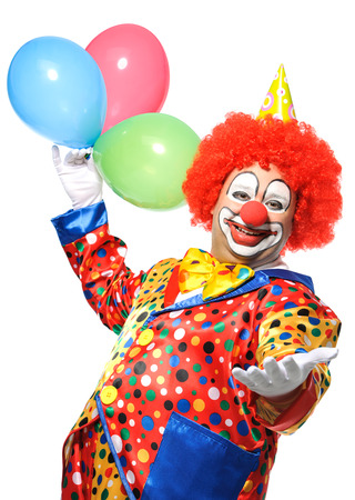 Portrait of a smiling clown with balloons isolated on white 스톡 콘텐츠