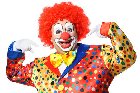 buffoon: Portrait of a smiling clown isolated on white Stock Photo