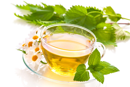 chamomile tea: Herbal tea with chamomile and  fresh mint leaves
