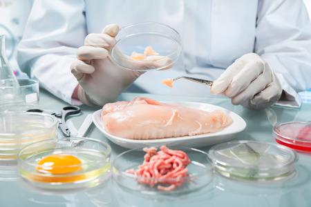 food woman: expert en contr�le de la qualit� au sp�cimen inspection des aliments en laboratoire Banque d'images