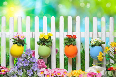 Easter eggs on fence with spring flowers