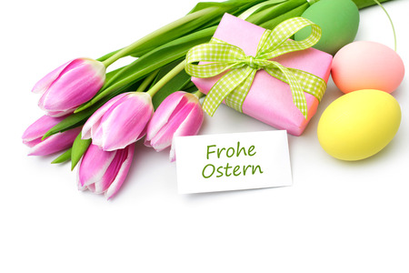 Tulips with tag and german text for Easter Stock Photo - 37078234