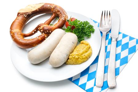 comida alemana: Comida bávara. Salchichas blancas con mostaza dulce y pretzels