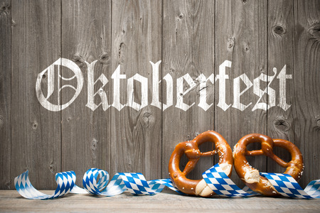 pretzel: Oktoberfest german beer festival template background. Stock Photo
