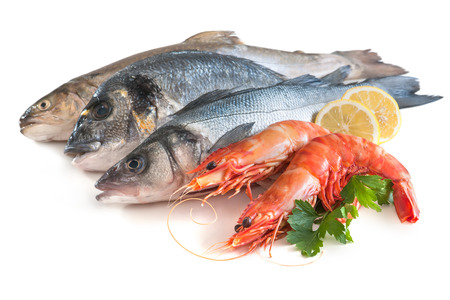 Assorted fresh seafood isolated on white background Stock Photo