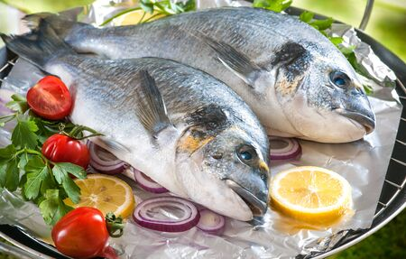 sea bass: Some of Gilthead sea breams with the vegetables on a grill