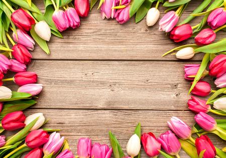 La pagina dei tulipani freschi ha sistemato su vecchio fondo di legno Archivio Fotografico - 37623490