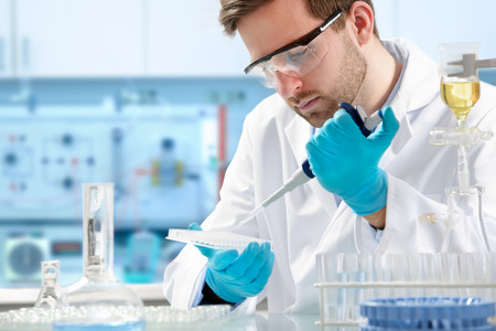 scientist working at the laboratory Stockfoto