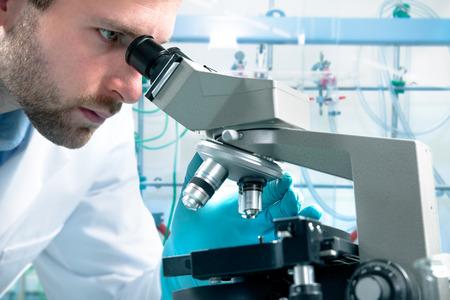 microscopio: Científico mirando por un microscopio en un laboratorio Foto de archivo