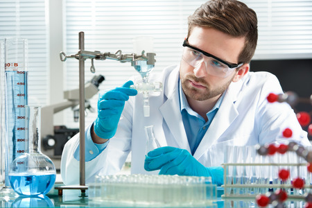 lab test: scientist working at the laboratory Stock Photo