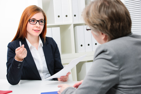 two persons: Job applicant having an interview