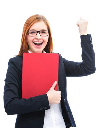 contrato de trabajo: Archivos candidatos sosteniendo j�venes felices para una entrevista de trabajo