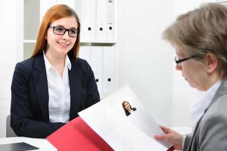 hand job: Job applicant having an interview