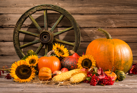 Thanksgiving autumnal still life with old wooden wheel Stock Photo