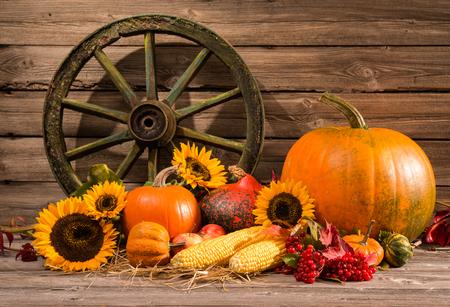 Thanksgiving autumnal still life with old wooden wheel Standard-Bild