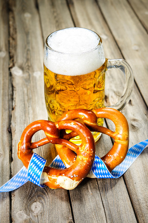 wiesn: Bavarian Beer and Pretzels with ribbon, Oktoberfest