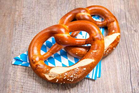 pretzels: Group of Bavarian pretzels on napkin Stock Photo