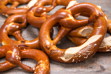 Group of Bavarian pretzels on wooden table