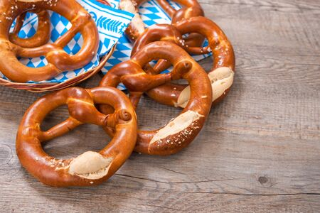 wiesn: Group of Bavarian pretzels on napkin Stock Photo