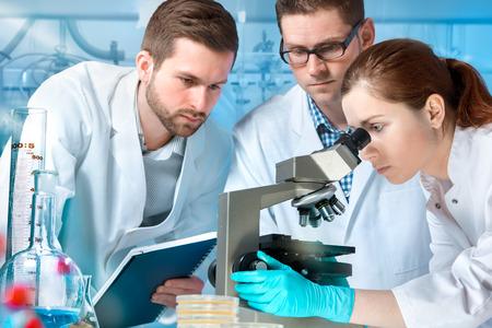 experimento: grupo de científicos que trabaja en el laboratorio Foto de archivo