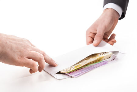 개념 - 부패. 소송에서 사업가 뇌물을한다 스톡 콘텐츠