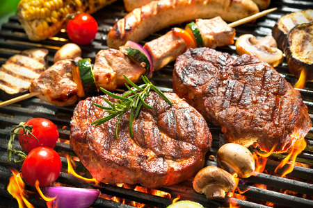 chicken grill: Assorted delicious grilled meat with vegetable over the coals on a barbecue