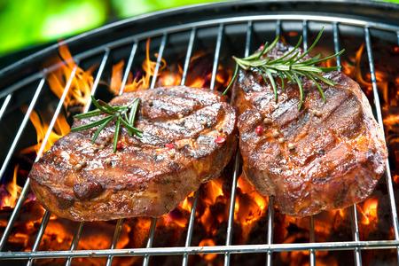barbecue: Deliciosa carne a la parrilla con vegetales surtidos sobre las brasas de una barbacoa