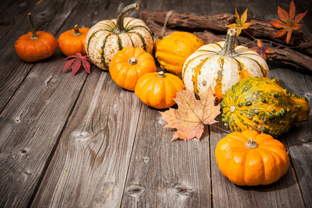 autumn arrangement: Autumn still life with pumpkins and leaves on old wooden background