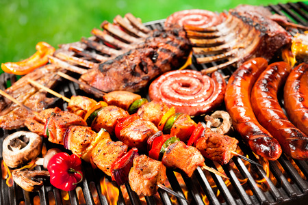 Assorted delicious grilled meat with vegetable over the coals on a barbecue Reklamní fotografie - 40695099