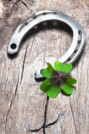 shamrock: Horseshoe with a shamrock on old wooden background Stock Photo
