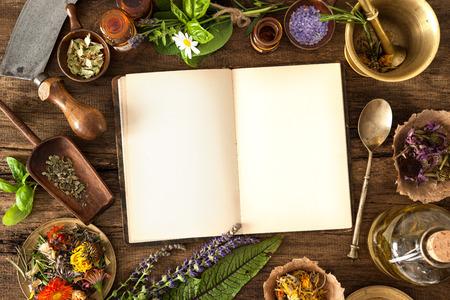 medicina: La medicina natural, a base de hierbas, medicamentos y viejo libro con copia espacio para el texto Foto de archivo